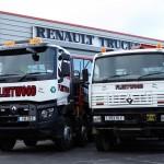 Cztery generacje wywrotek Renault Trucks na jednym placu – od serii C, poprzez Keraxa, aż po serię G