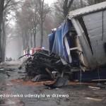 Scania serii 4 uderzyła w drzewo z taką siłą, że kabina znalazła się co najmniej kilka metrów od podwozia