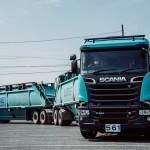 Japońskie pociągi drogowe z ciągnikami marki Scania, wożące po 80 ton i spalające niemal 70 l/100 km